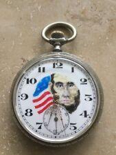 ANTIQUE PRESIDENT ABRAHAM LINCOLN OPEN FACE POCKET WATCH TASCHENUHR USA UNIKAT