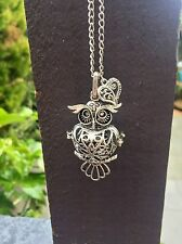 Large Silver Owl Locket Necklace With Heart Charm. Gift Bag Packaged.