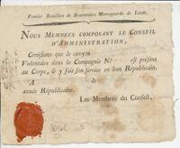 Certificat Révolutionnaire du Premier Bataillon de Braconniers de L'AUDE X1307