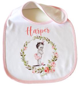 Personalised vintage baby~ Baby bib new baby girl gift