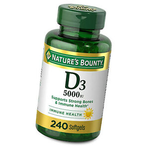 Nature's Bounty Vitamin D3 5000IU 240 Softgels Supports Immune & Bone Health