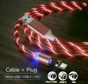 Type-C,Micro USB,iOS USB Charging Cable  RED Led Twirl xmas Light Magnetic