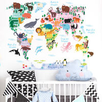 Carton Animals World Map A Early Learning Wall Sticker Decal Nursery/Kids Room