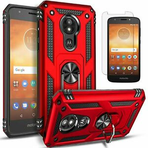 For Motorola Moto E5 Play Case, Ring Kickstand Cover + Tempered Glass Protector
