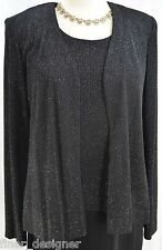 R&M Richards 2pc Suit Dress MOB Slinky formal sleeveless gown glitter jacket 6P