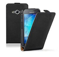 Ultra Slim BLACK Leather Flip Case Cover for Samsung Galaxy Xcover 3 (SM-G388F)