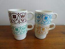 4 Vintage USA Coffee Mug Cups Flowers Stackable Creamy White Farmhouse MCM