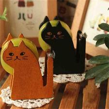1x Funny Cat Shape Wooden Tape Dispenser Tape Cutter Office School Supplies NTPK