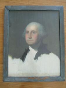 Antique Vtg Large Gilbert Stuart George Washington Portrait School Room Picture