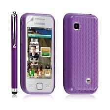 Housse étui coque gel damiant pour Samsung Wave 575 S5750 violet + Stylet luxe