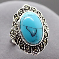 Fashion Natural Tibetan Turquoise 925 Sterling Silver Ring Jewelry Size7 8 9 10