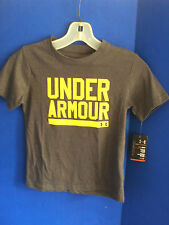 Under Armour~UA~Gray HEATGEAR Yellow Logo T Shirt TEE~Boys Size 5~NWT