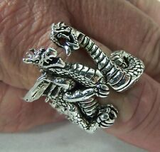 Double Dragon Biker Ring heavy metal ring new Br164 fantasy medieval mens women