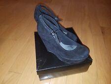 EUC ASOS womens platform suede ankle strap black shoes size 7 US , 5 UK