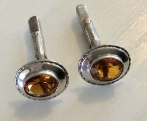 Lovely Quality Vintage Solid Silver and Citrine Cufflinks