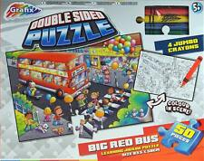 Big Red Bus Giant Floor Double Sided Jigsaw Puzzle - 50 Pieces