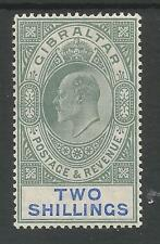GIBRALTAR SG62 THE 1905  EVII 2/- GREEN AND BLUE MOUNTED MINT CAT 120