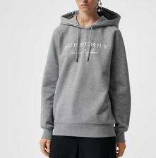 Burberry Women Krayford Logo Hooded Cotton Hoodie Sweatshirt Grey Sz XL NWT $450