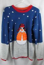 Christmas sweater 33 Degrees Mens Large L/XL Snowman orange vest trapper hat