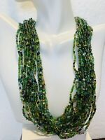 Circa Mid 1900's Vintage Jade Green Multi strand Seed Beads Necklace
