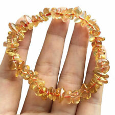 Natural Citrine Stone Chip Bracelet Gold Yellow Crystal Quartz Gemstone Jewelry