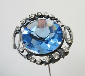 Antique Hatpin Large Blue Faceted Glass Rhinestones