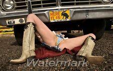 4x6 Hot Sexy Girl Lying Under Car In Blue Bikini 30