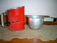 Lot of 2 Vintage Bromwell's Red 3-cup Flour Sifter and Foley Aluminum Sifter