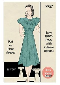 1940s Wartime Tea Dress with Two Sleeve Options Vintage Sewing Pattern 38 Bust