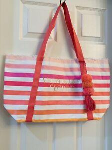 NWOT Victoria Secret Tote XL Beach Bag Stripes Pink White Orange About 14x14x6in