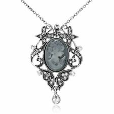 Women Jewelry Cameo Crystal Flower Pendant Necklace Sweater Chain Wedding Bridal