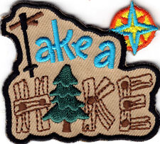 """""""TAKE A HIKE"""" - TRIP - VACATION - OUTDOORS - HIKING - Iron On Embroidered Patch"""