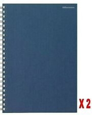 2 x Office Depot A4 Feint Ruled Wirobound Manuscript Book 160 Pages