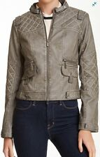 BNCI By Blanc Noir Quilted Trim Motor Jacket Gray Cement Size Large New with Tag
