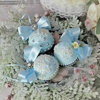 Shabby Chic Vintage Victorian Elegance Christmas Ornaments Set of 3 Blush Blue