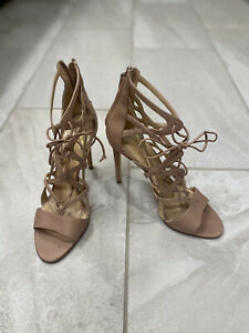 NWOB Alejandro Ingelmo Peach Leather And Rose Gold Cut Out Heels/Sandals Size 41