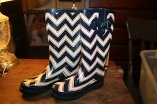 Size 8 Rubber Boots Wellingtons Austin Trading Company Red Blue White Chevrons