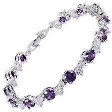 Schmuck Round Cut 18K White Gold Plated CZ Topaz Purple Amethyst Tennis Bracelet