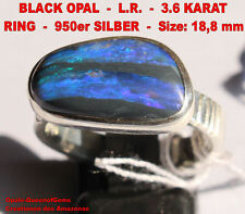 Lightning Ridge Black Opal 3.6 Karat 950er Silberring, Größe 18,8 mm