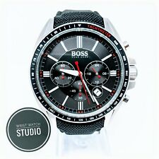 New Hugo Boss 1513087 Driver Sport Mens Black Leather Strap Chronograph Watch
