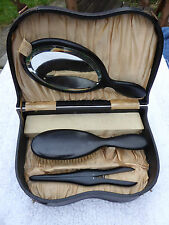 Edwardian Ebony brush mirror glove stretcher dressing table set original case