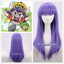Arale Straight Purple Long Anime Cosplay Wig +free wig cap