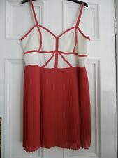 M&S Ltd Collection Terracotta and Cream Occasion Dress Size 18 BNWT