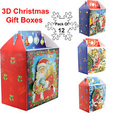 12 Pack 3d Christmas Wrapping Boxes Santa Xmas Festive Gift Party 15.5x12x8.8 Cm