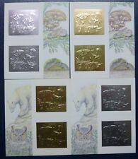 1994 Guyana funghi insetti rane gufo Frogs OWL ARGENTO ORO blocco 391-394 MNH
