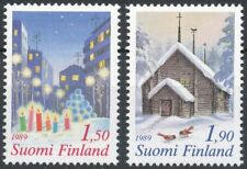 Finland 1989 MNH Set of 2 Stamps - Christmas - Snow - Church - Candles - Birds