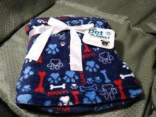 """Pet Blanket Plush 30"""" x 30"""" Blue w/Paw & Bone Print"""