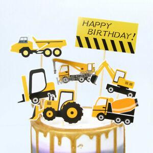 Construction Signage Stop Truck Excavator Crane Happy Birthday Cake Topper Set