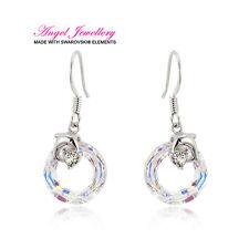 Sterling Silver Hook Earrings With Swarovski Crystal Clear Gift Box Pierced Ears