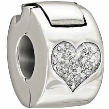 Authentic Chamilia Jeweled Heart Lock - Crystal Charm Bead 1430-0008 Gift Boxed
